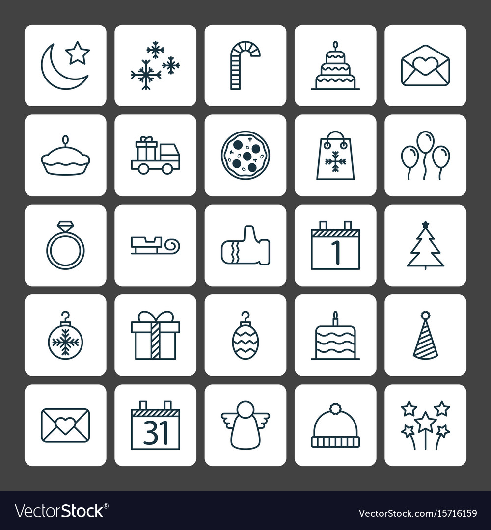 Holiday Icons Set Collection Of Greeting Email Vector Image