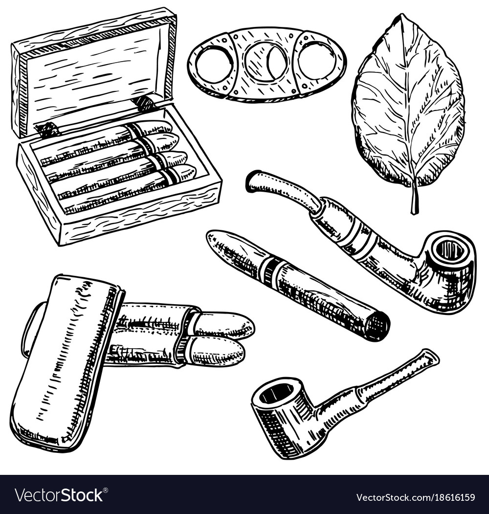 Ink hand drawn style tobacco set