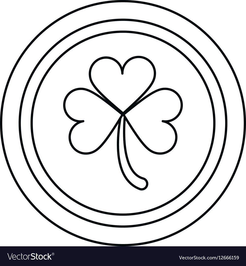 Saint patrick day coin shamrock icon outline