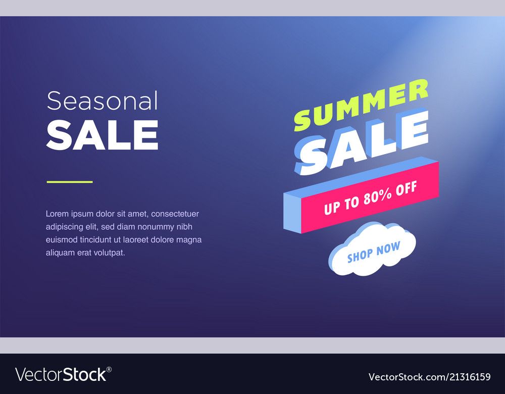 Sale banner template design web banner with neon