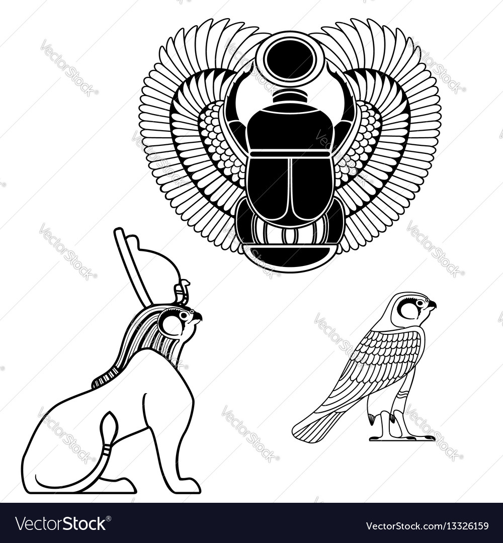 Set Of Egyptian Ancient Symbol Royalty Free Vector Image