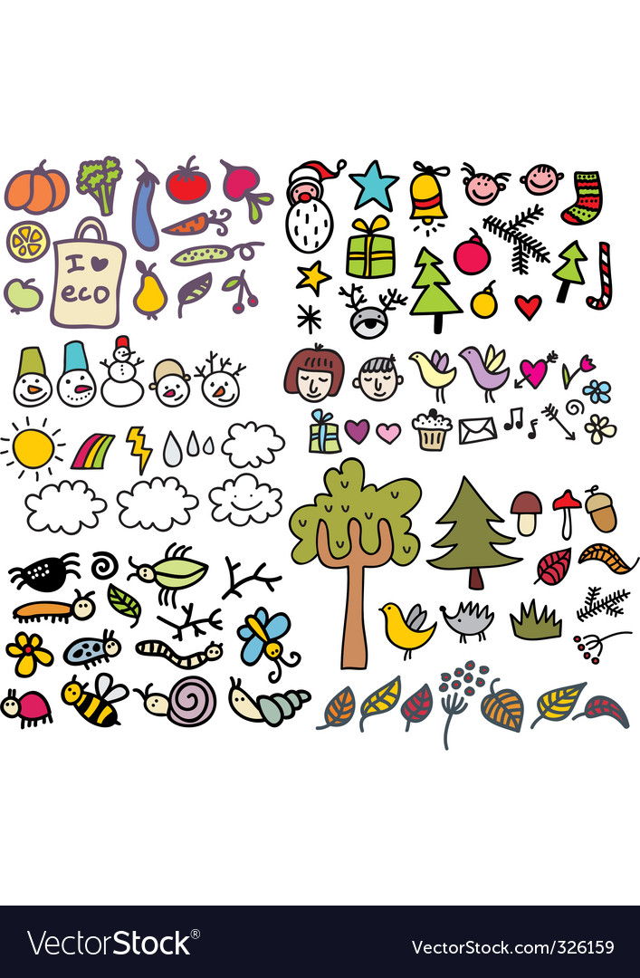 Sketched icons vector image