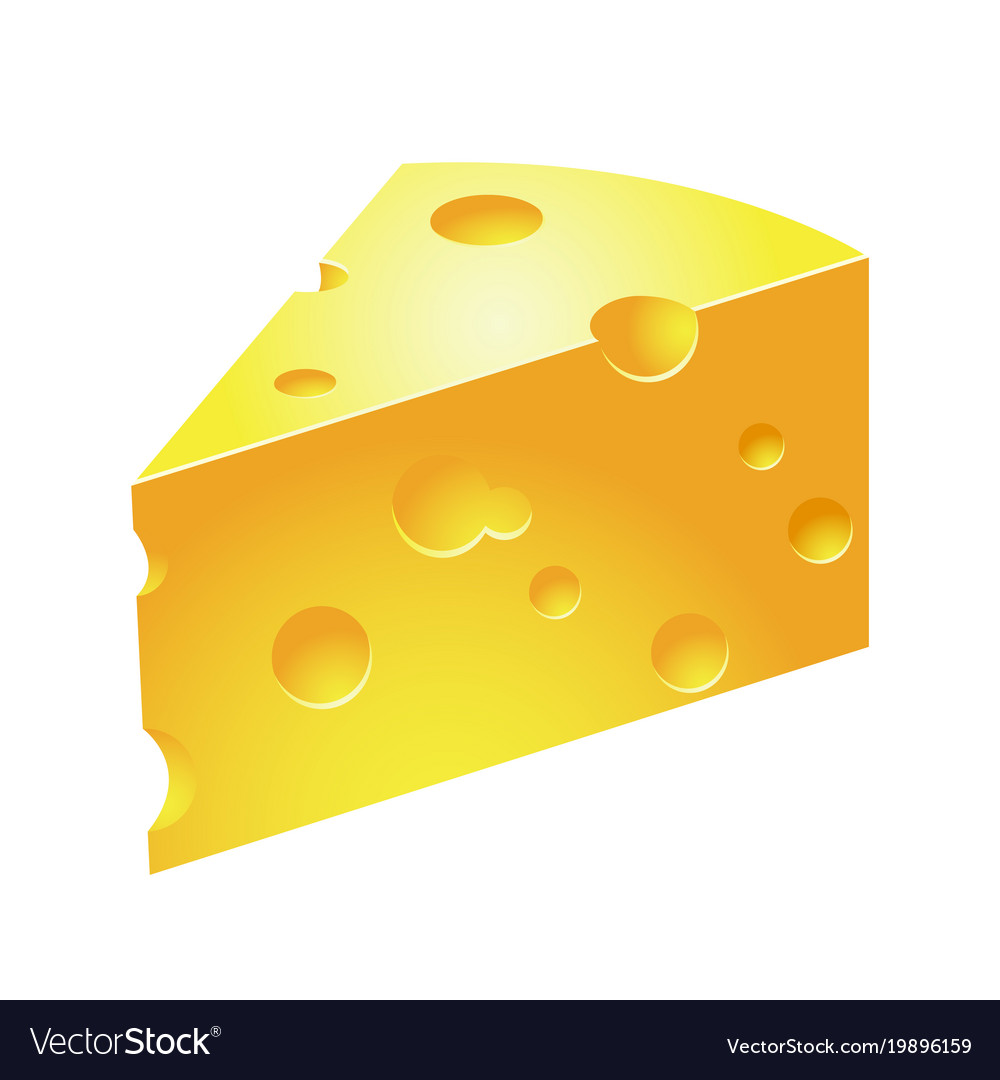 slice of cheese icon of piece of holed cheese vector image