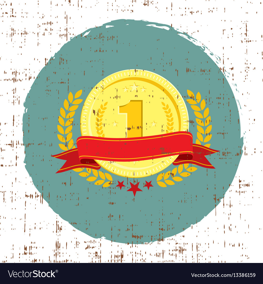 Trophy cup coin with red banner for first place vector image
