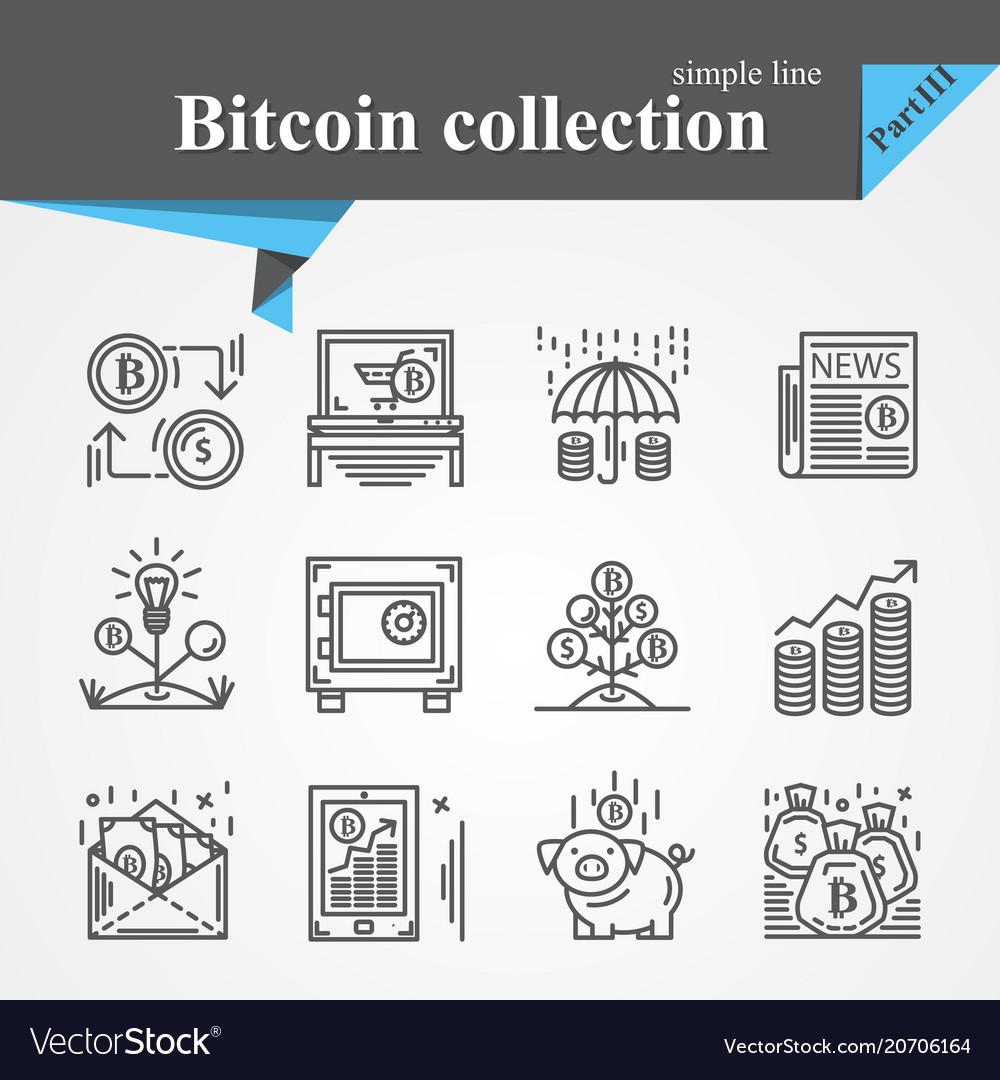 Bitcoin thin line icon set