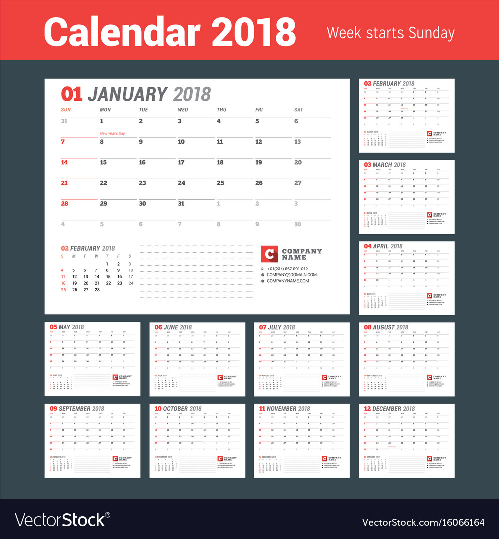 Calendar template for 2018 year business planner vector image friedricerecipe Choice Image