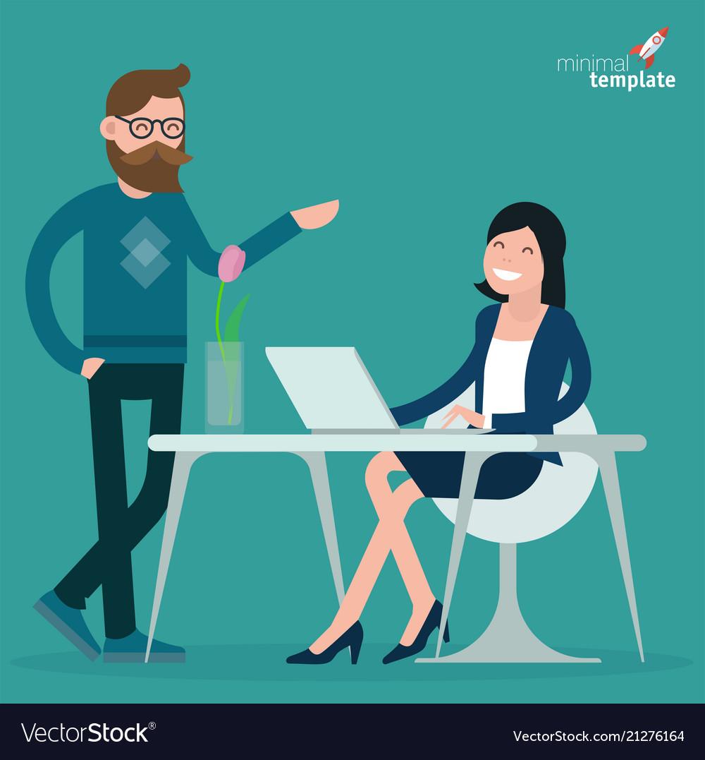 Cartoon men and women communication in office