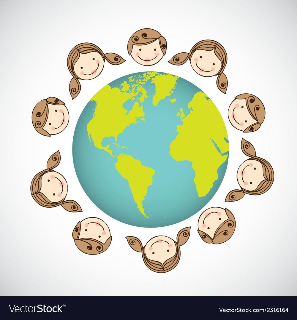 Children around the world on white background