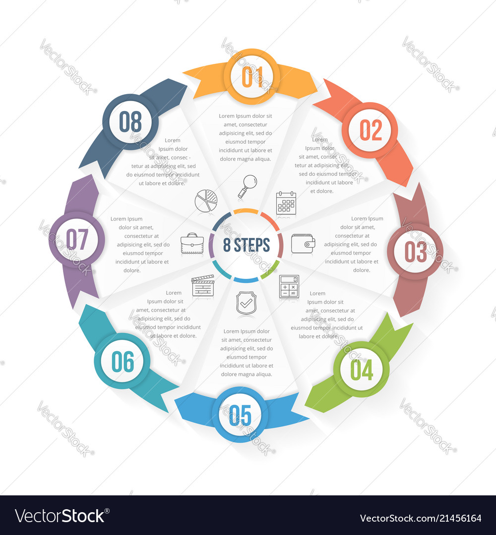 Circle infographic template with eight elements