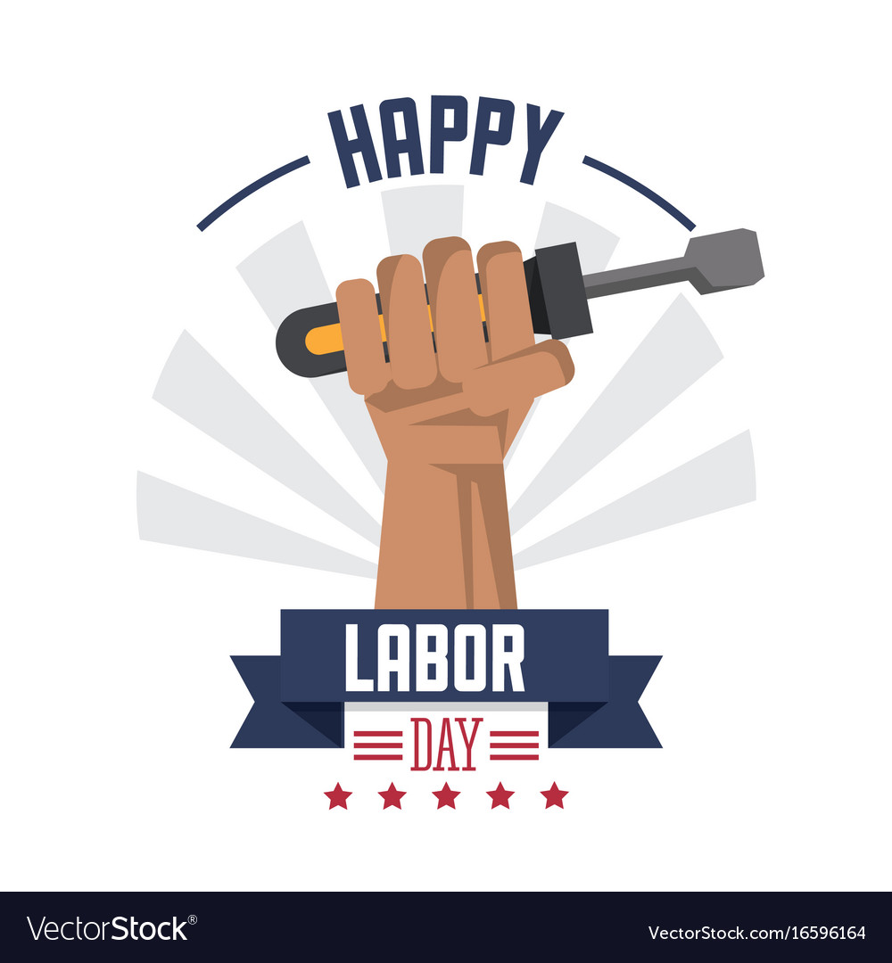 Colorful poster of happy labor day with hand