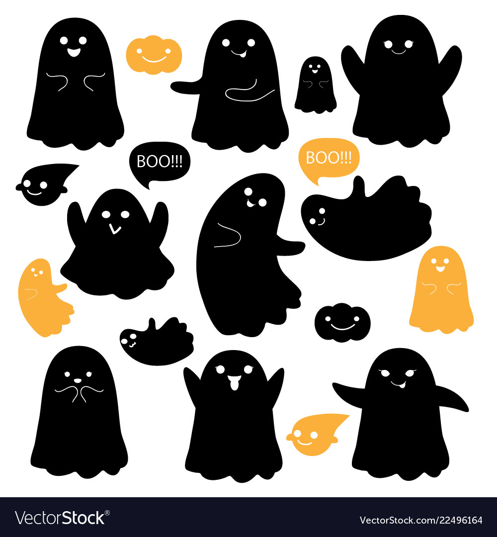 Cute ghosts icons on white halloween