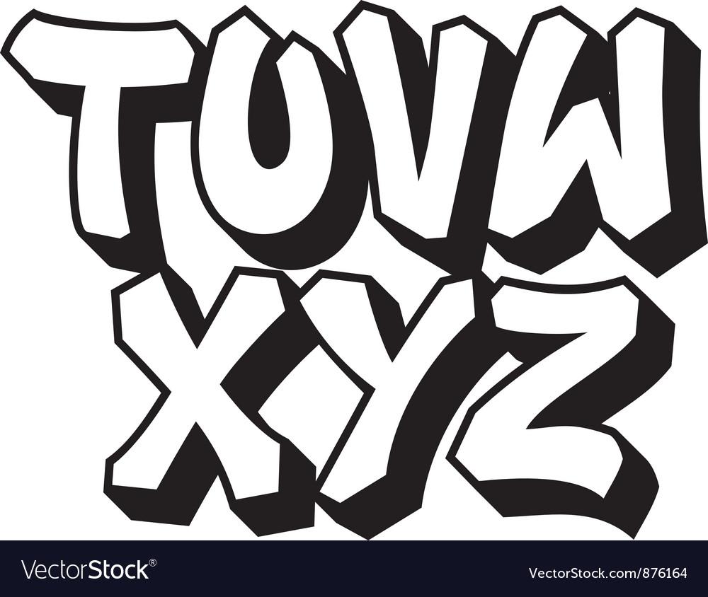 Graffiti font part 3 vector image
