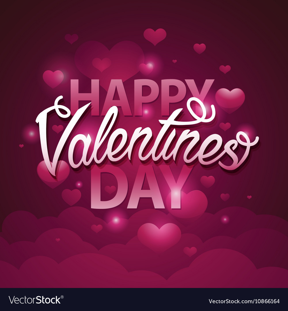 Happy valentines day script text on pink