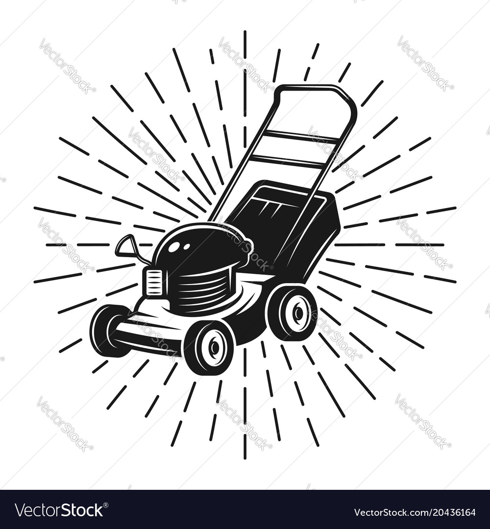 Lawn mower with rays in vintage style on white