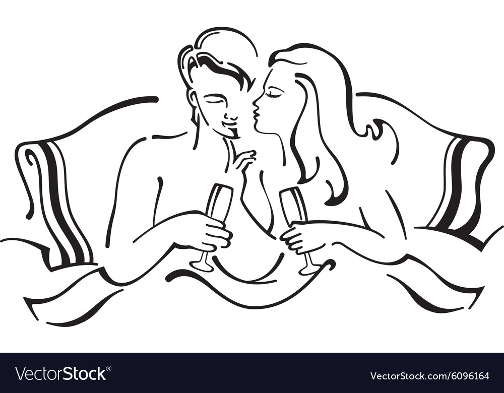 Man and woman in love sitting in bed vector image
