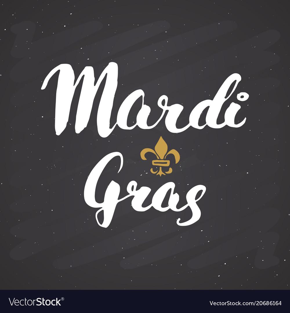 Mardi gras calligraphic lettering typographic