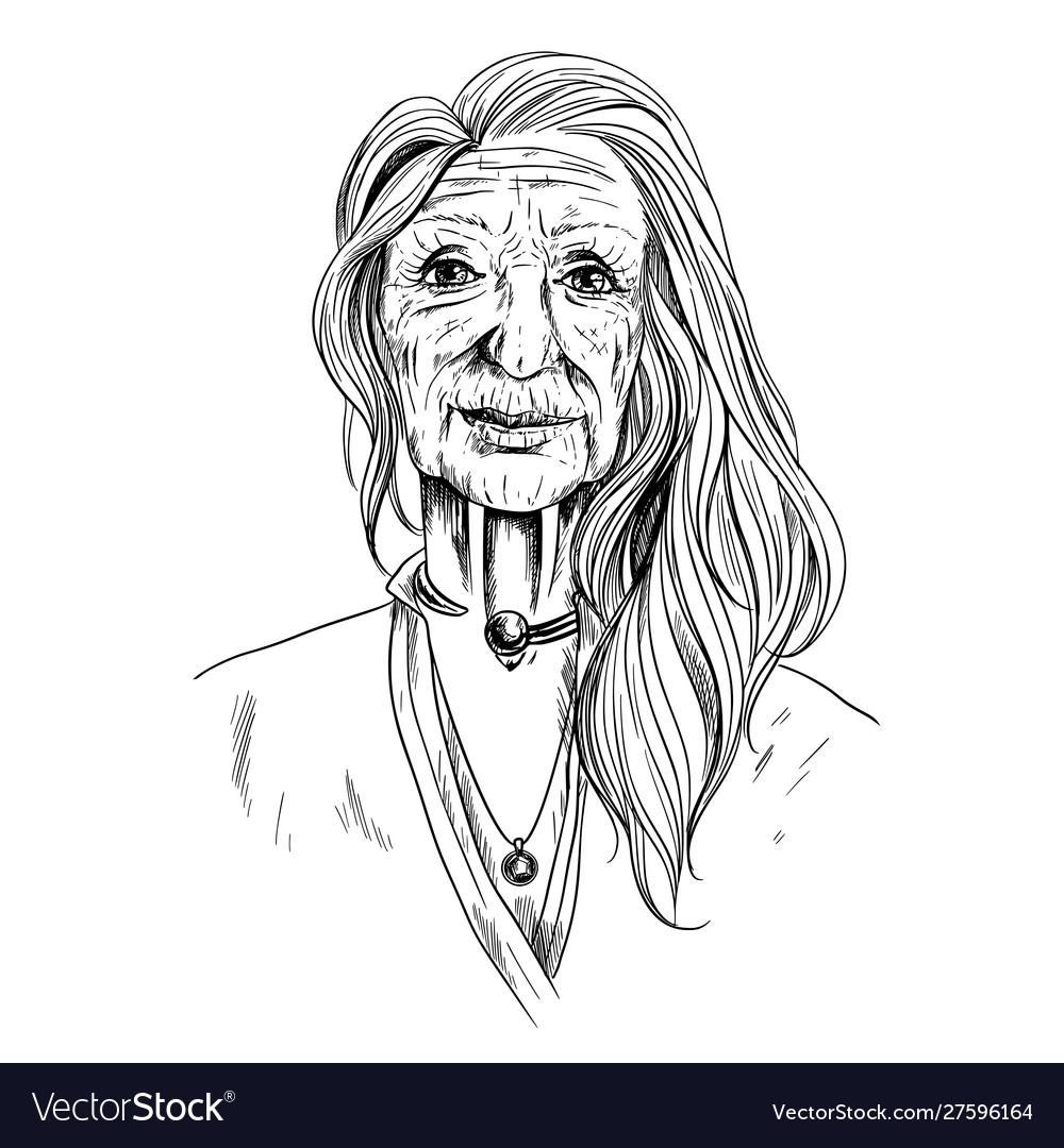 Portrait beautiful old woman sketch in shirt
