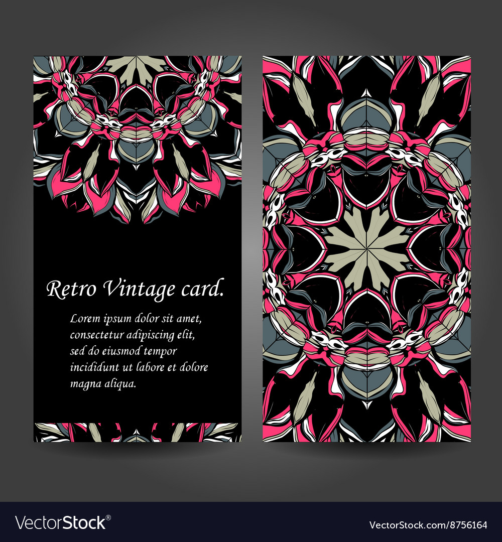 Set Retro Business Card Background Card