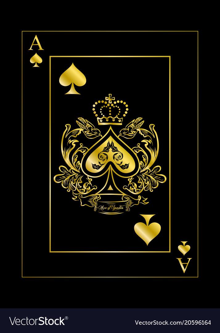gold spade card  Spades ace gold