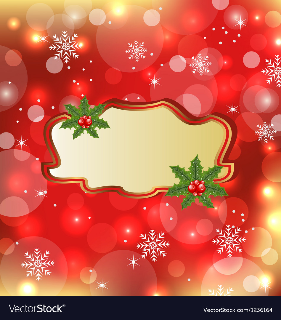 template frame with mistletoe for design christmas