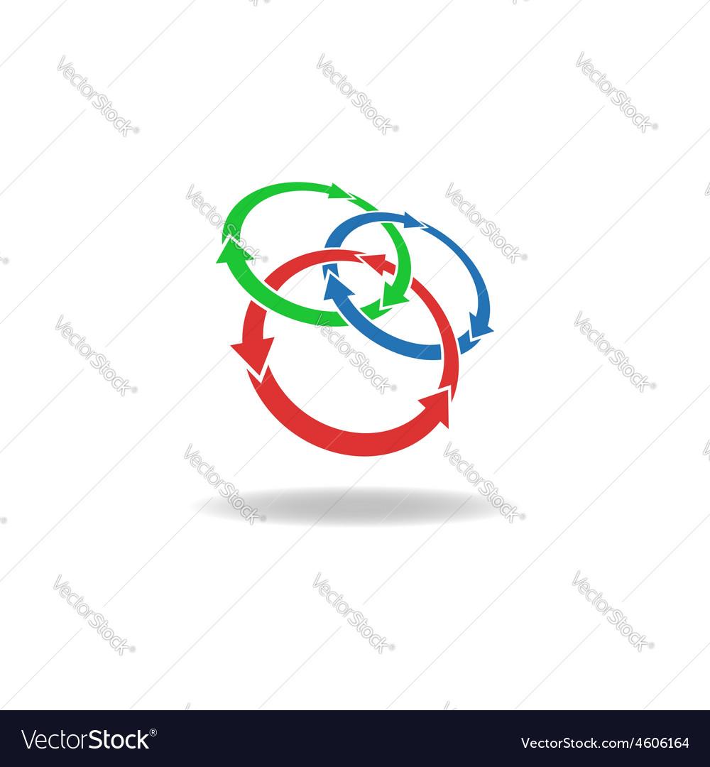 Three circles arrows loop logo cycles three