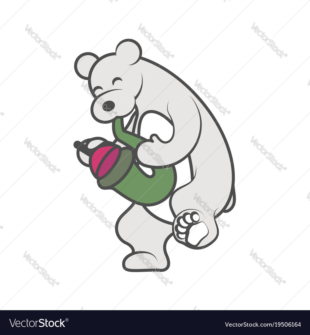 White bear is playing a musical instrument
