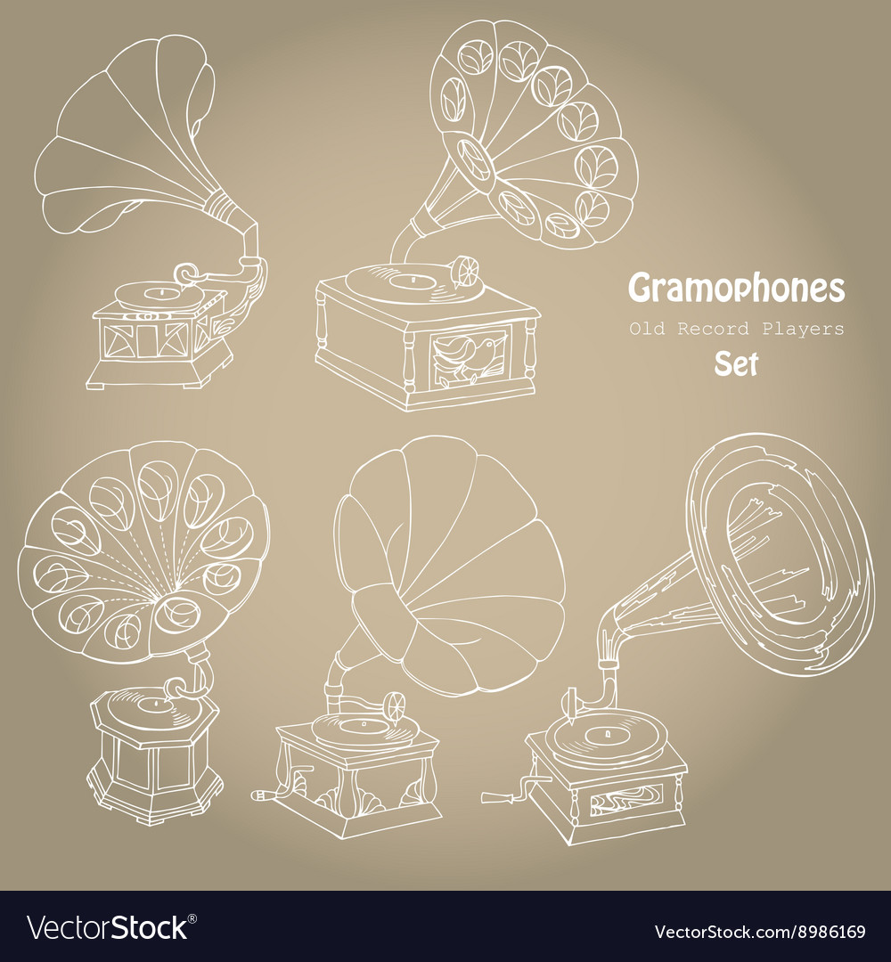 Background with gramophones