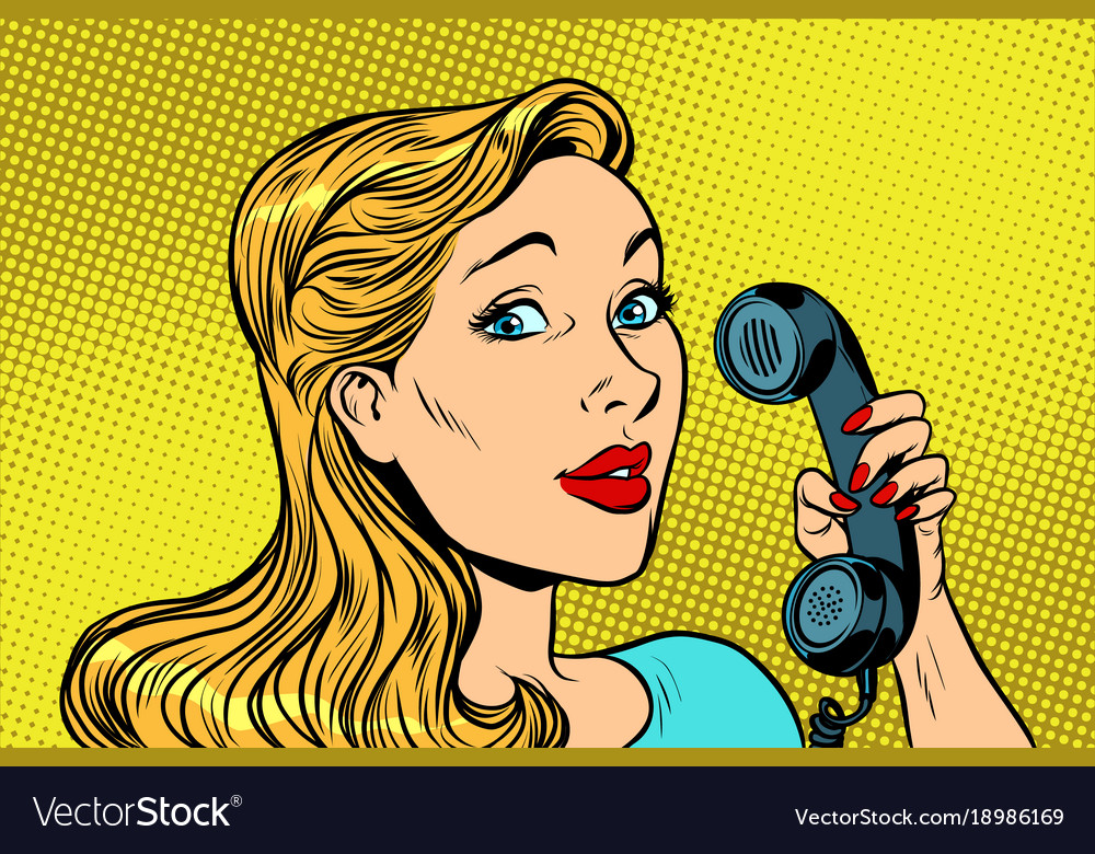 Blonde woman talking on retro phone