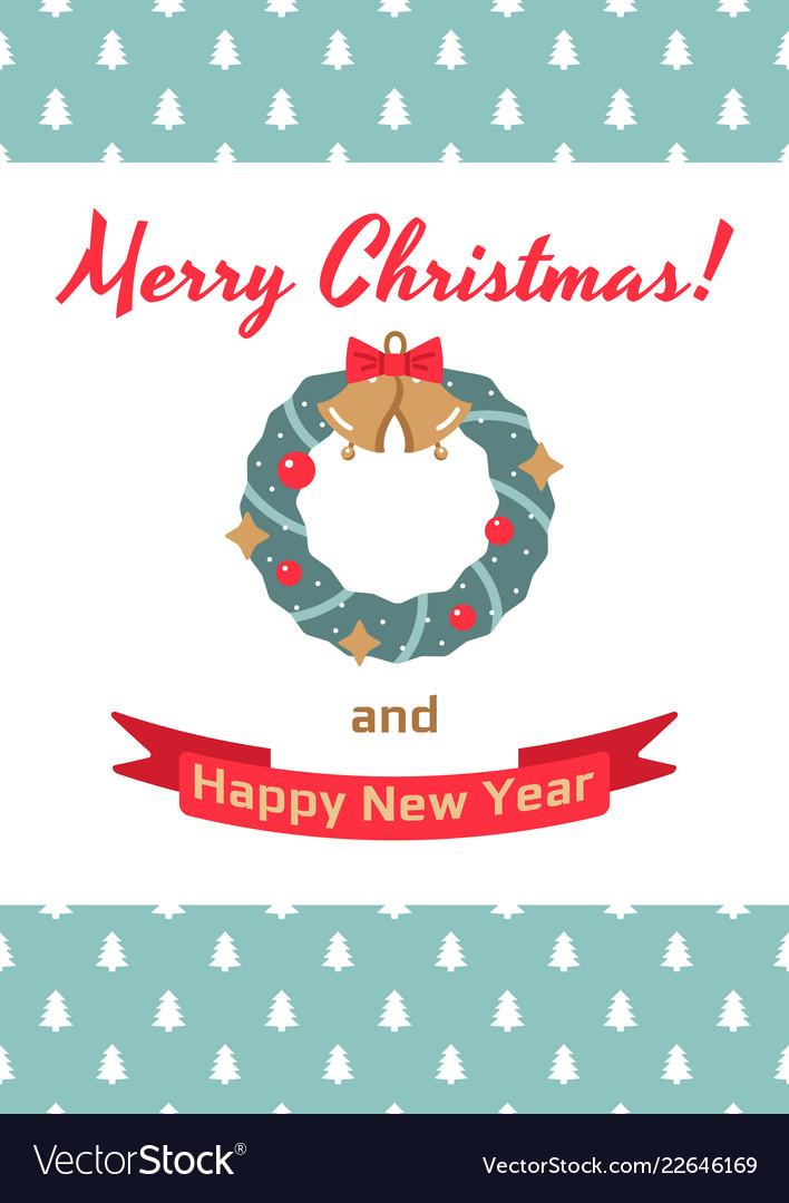 Christmas Card Christmas Wreath Royalty Free Vector Image