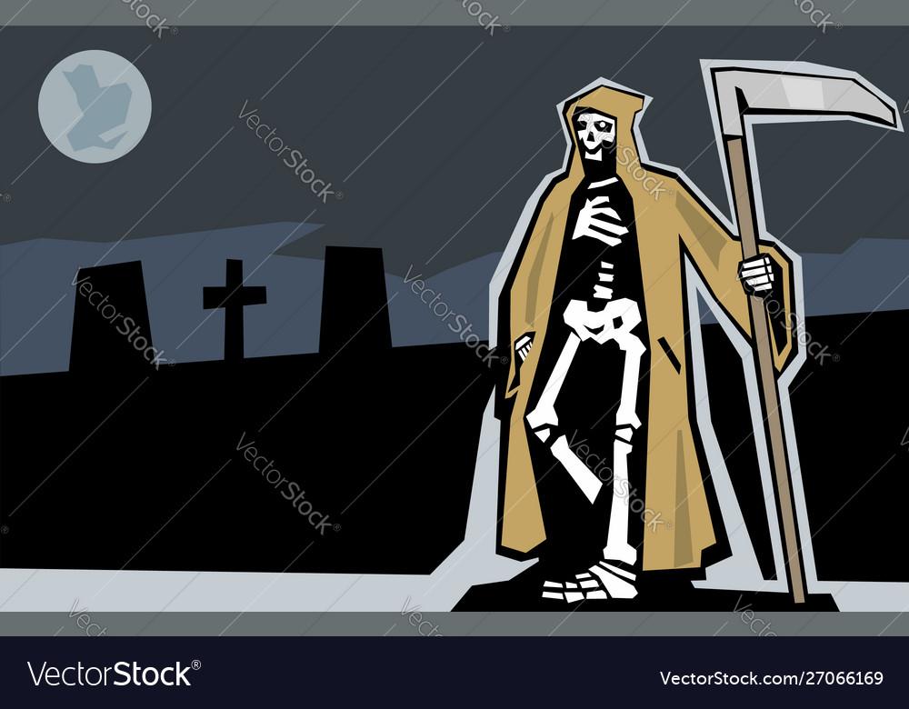 Death with scytheman on graveyard night full moon