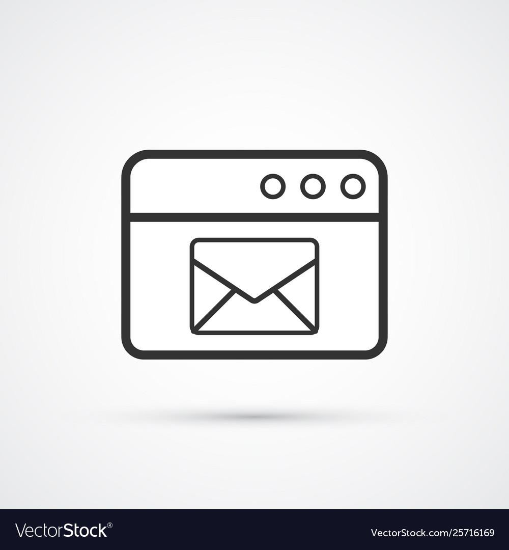 Email service flat line trendy black icon eps10