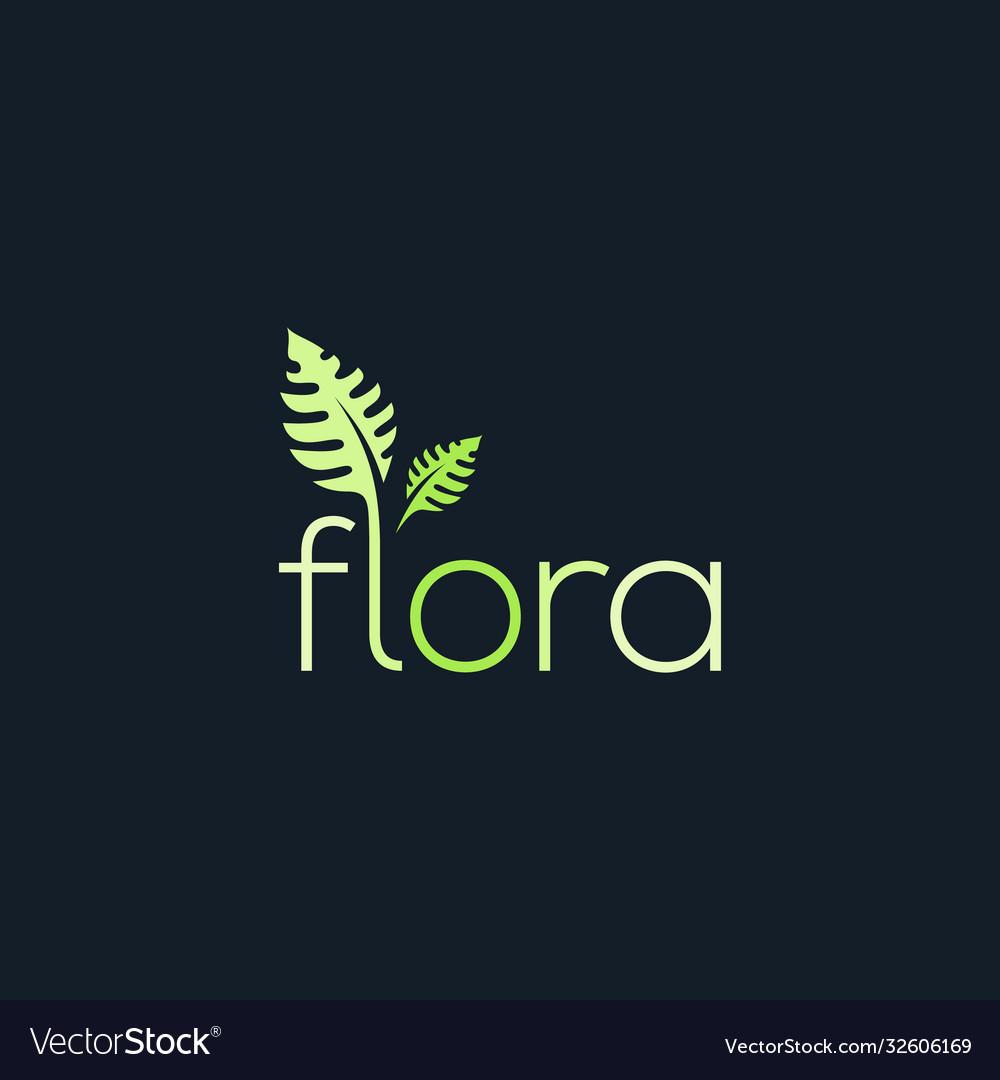 Flora logo typography leaf green