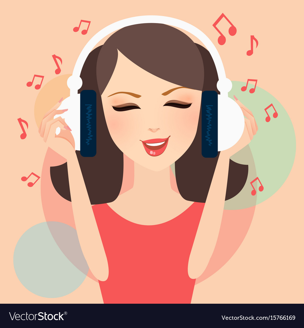 Girl listening to music in headphone young female vector image