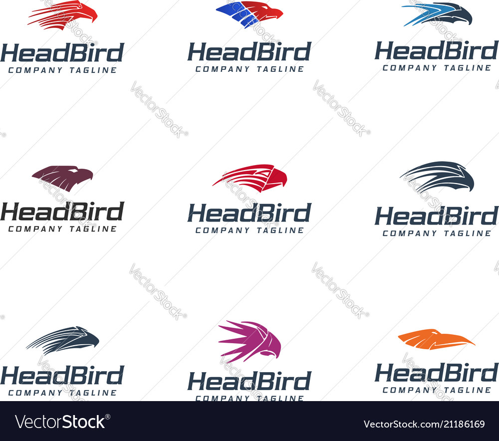 Head bird logo colection set animals logo design