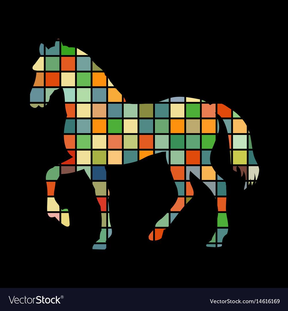 Horse farm mammal color silhouette animal vector image