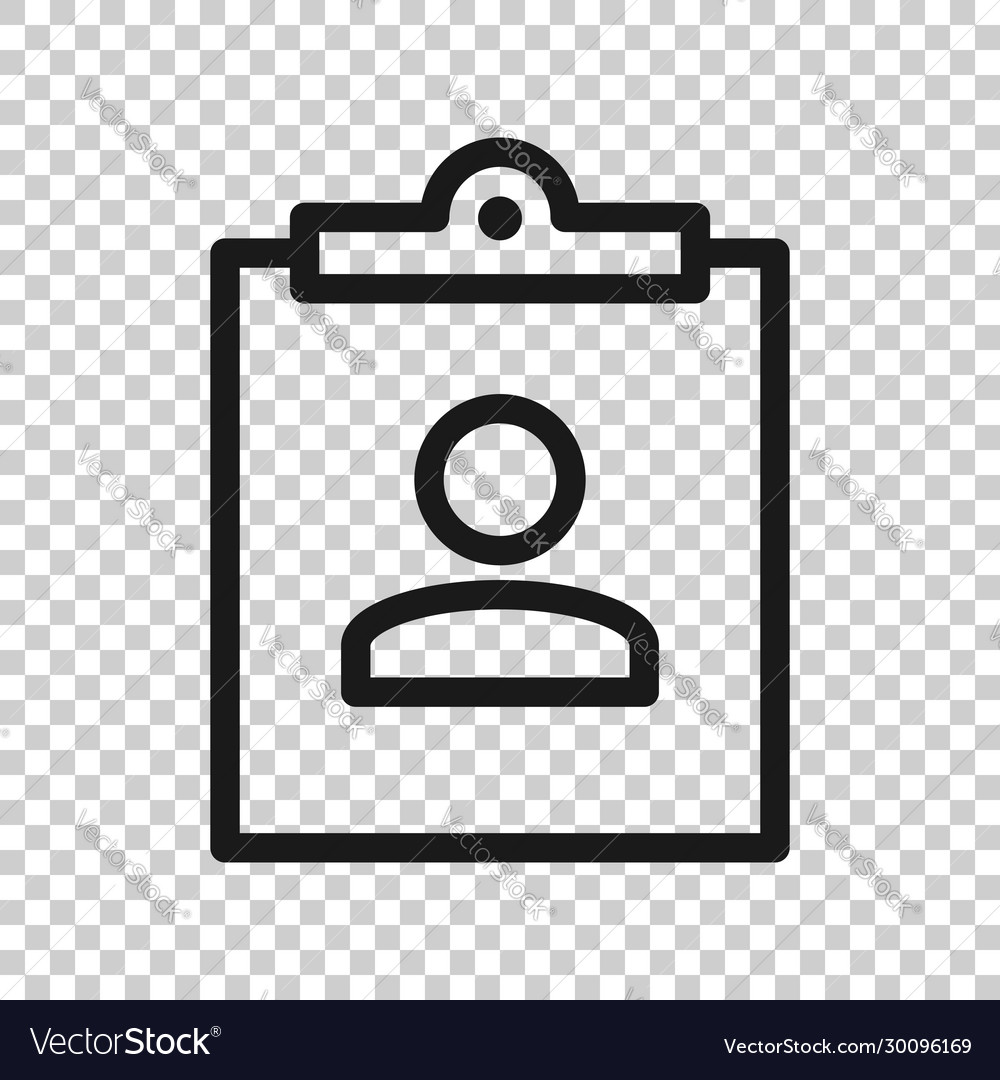 id card icon in flat style identity tag on white vector image id card icon in flat style identity tag on white vector image