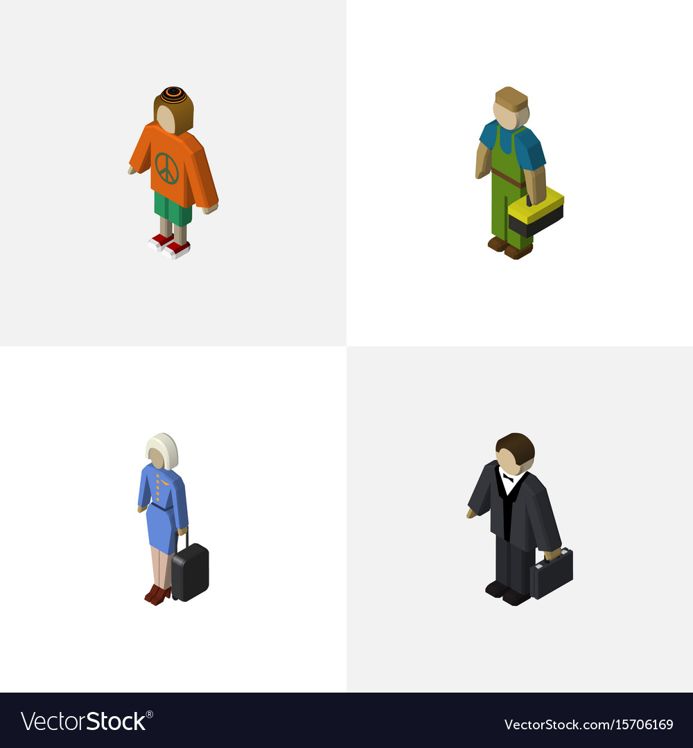 Isometric human set of investor plumber lady and vector image