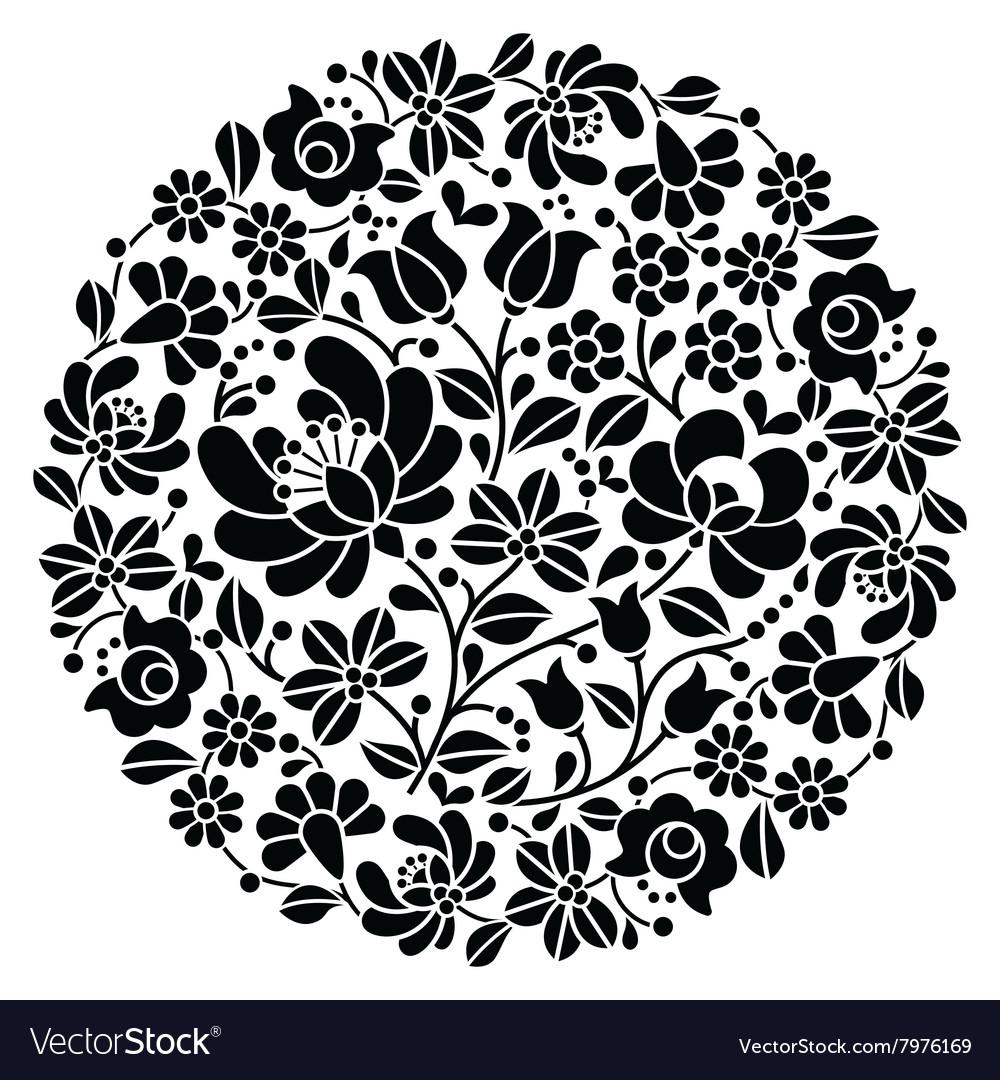 Kalocsai folk art embroidery - black Hungarian Vector Image