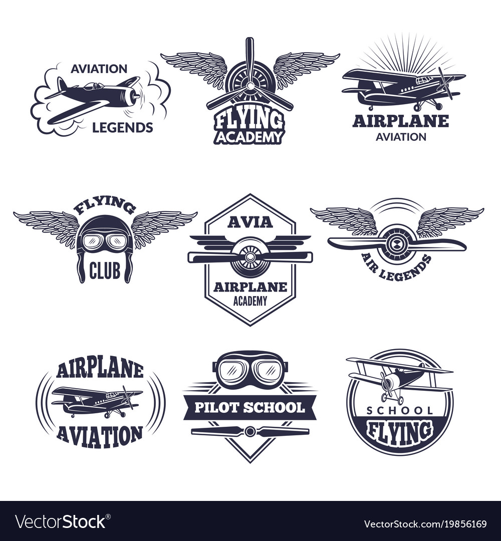 Labels at aircrafts theme monochrome