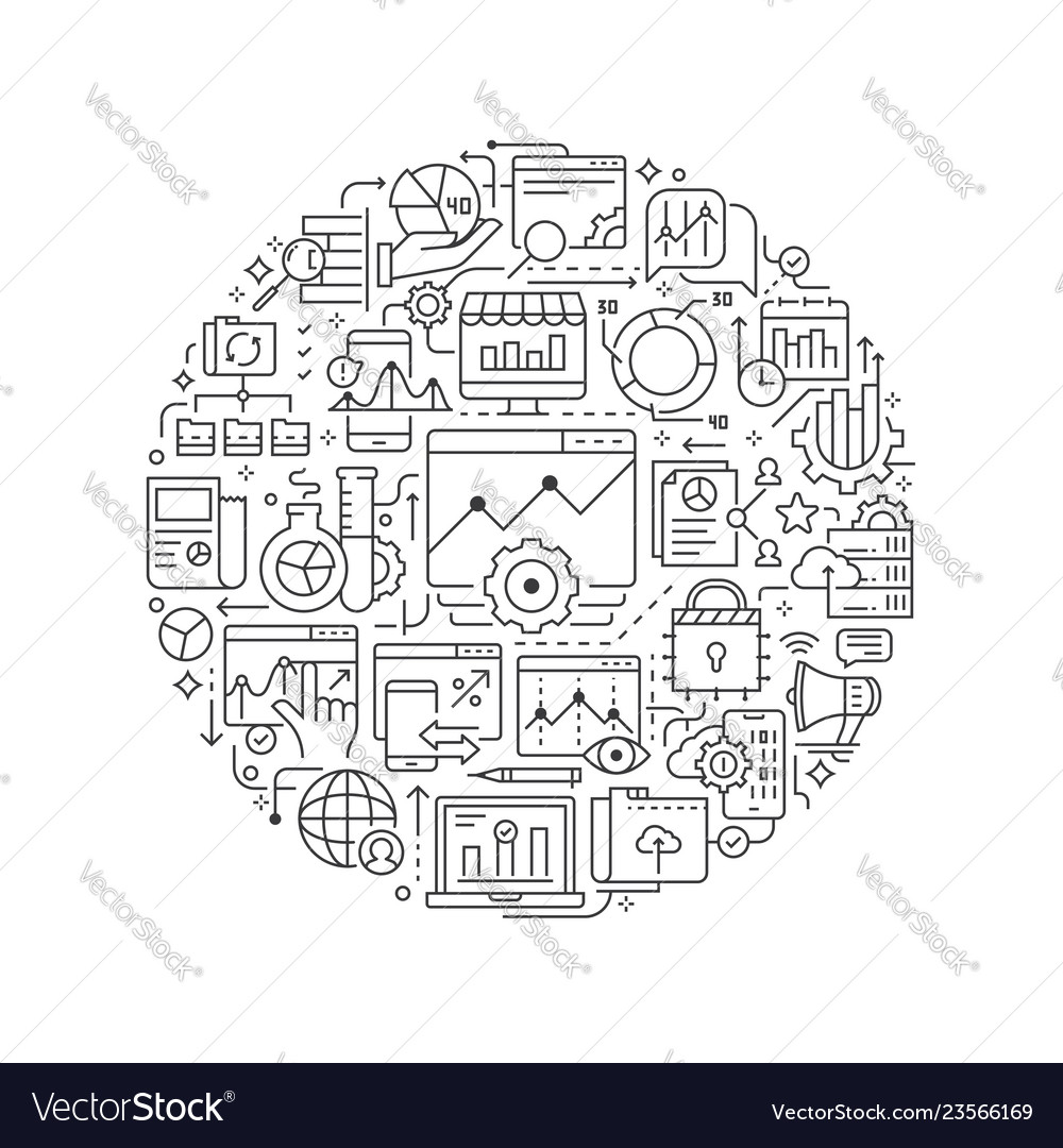 Round design element with analytics data icons