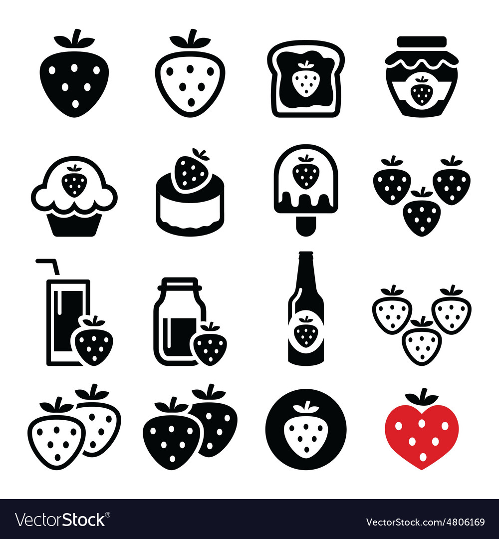 Strawberry meals - food and drinks icons set