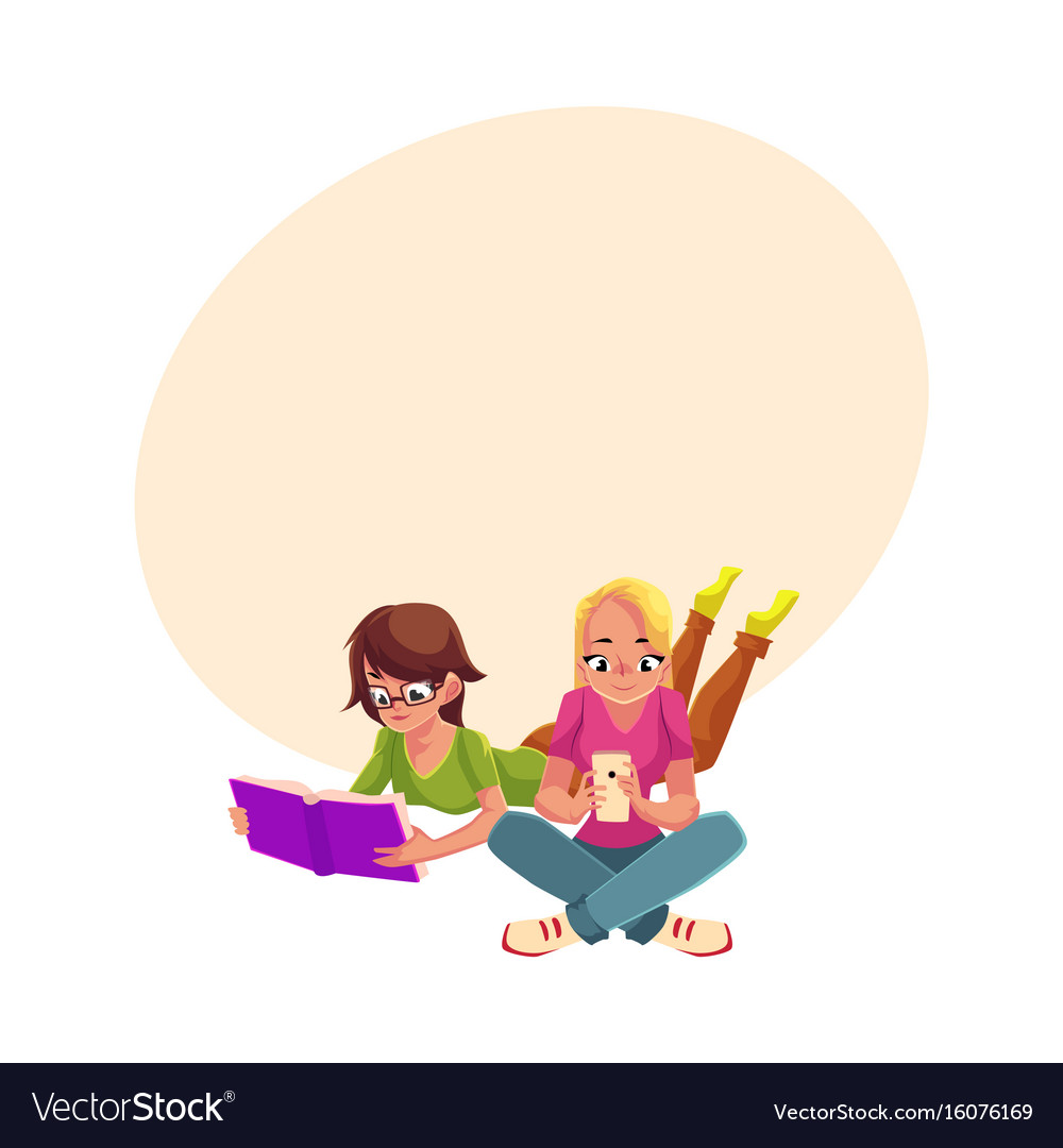 Two girls siting crossed legs reading book using