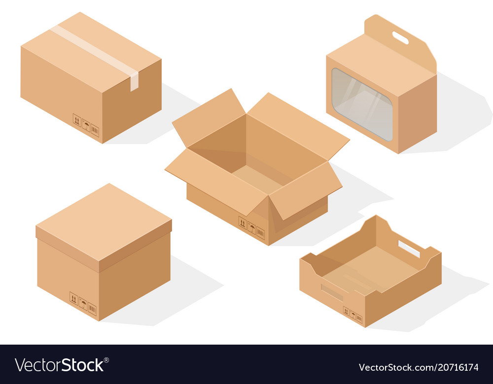 Brown paper cardboard boxes isometric collection
