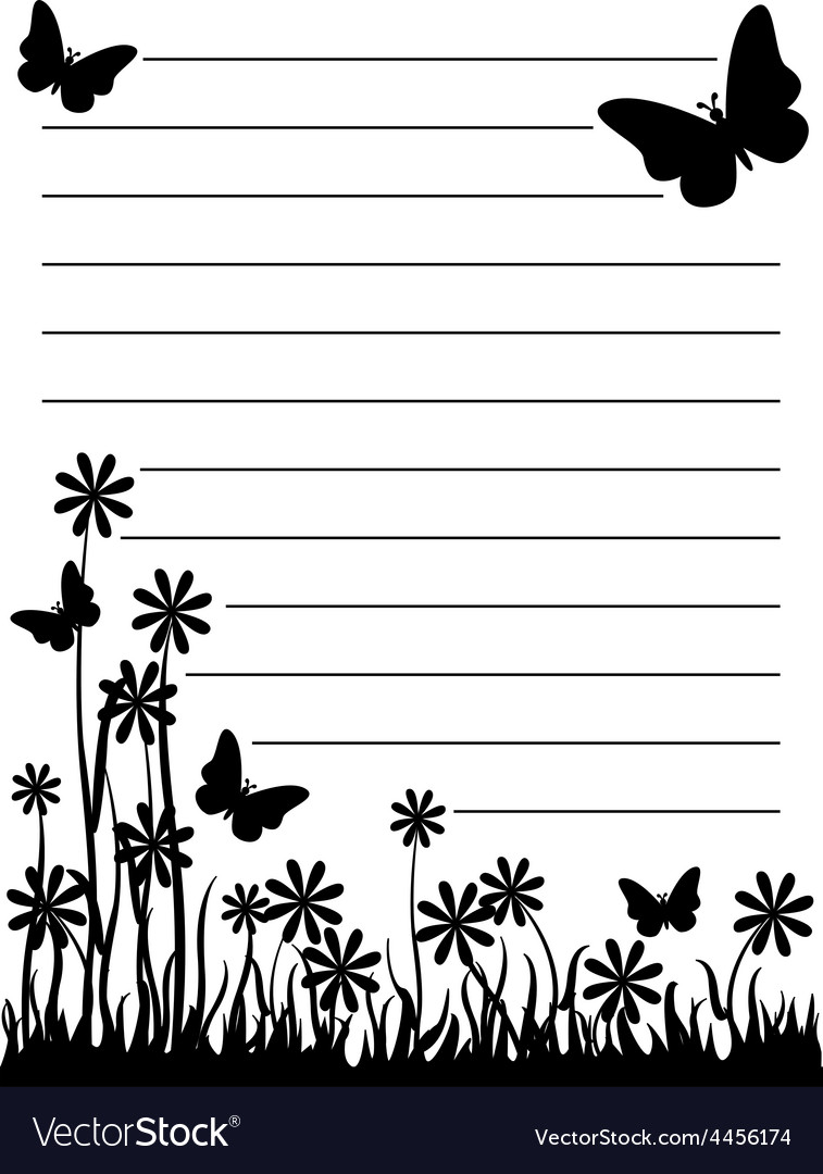 Butterfly and flower notepad
