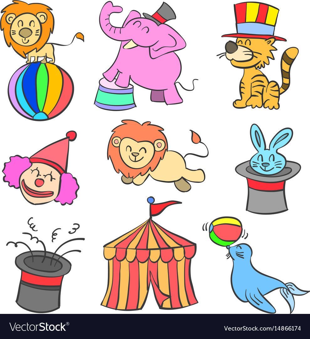 Cute animal circus of doodle style