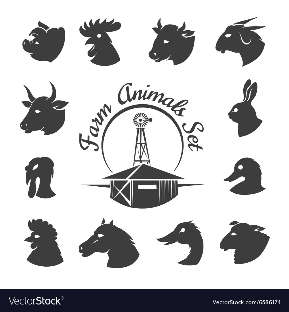 Farm animal meat icons