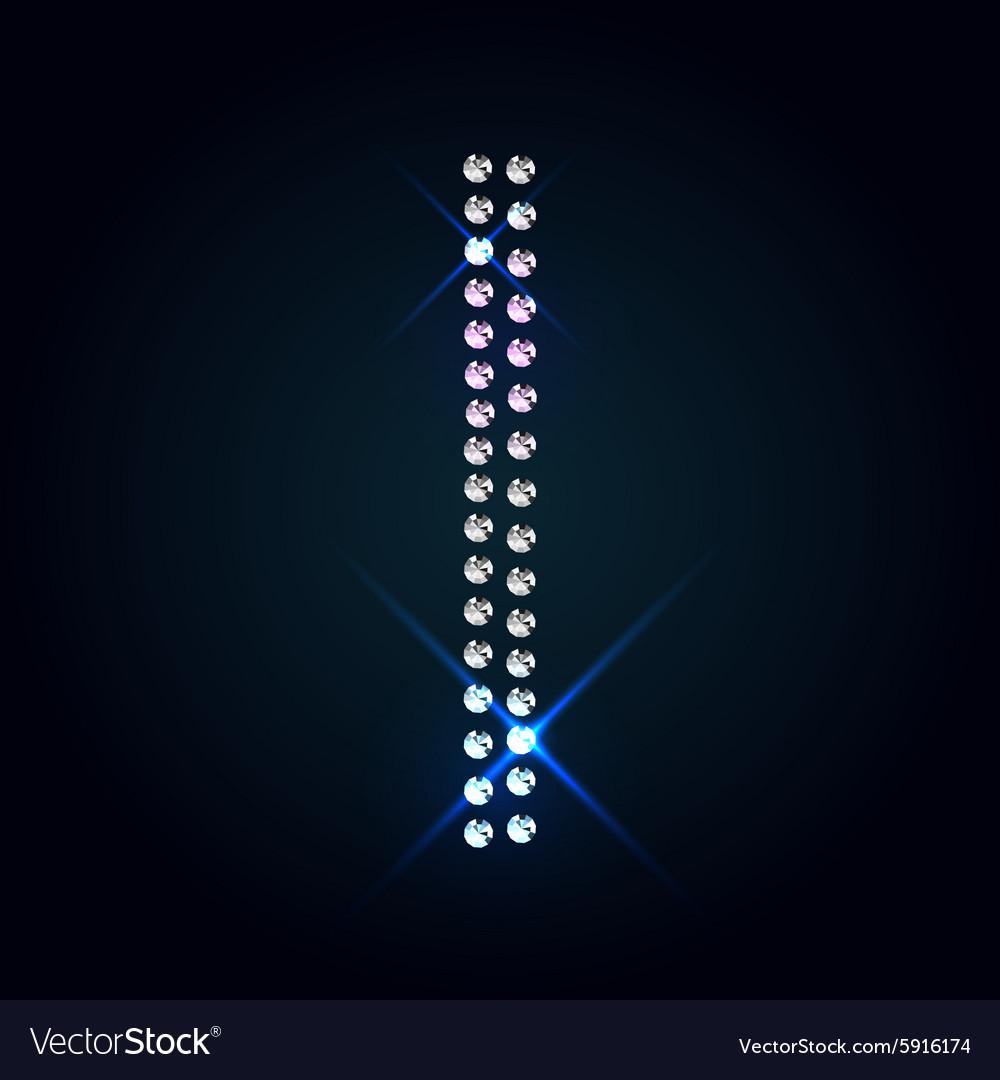Gems I letter Shiny diamond font vector image