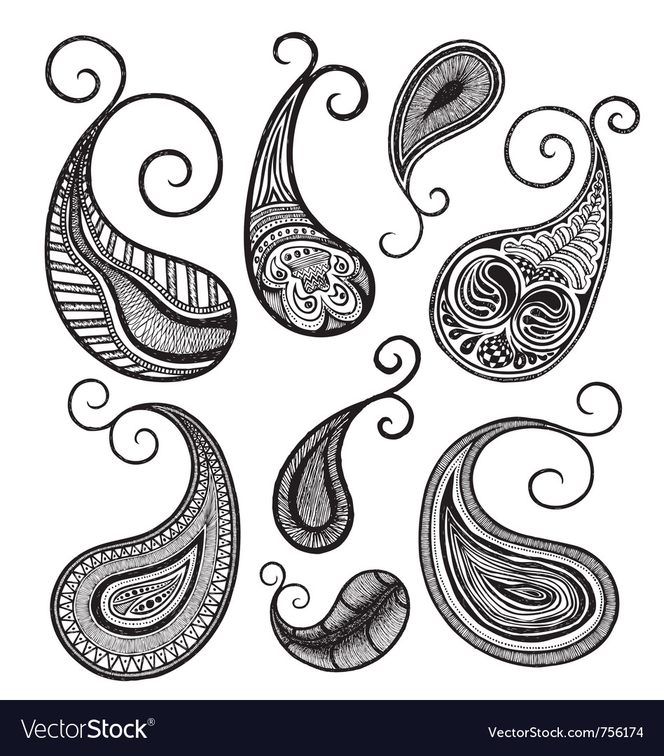 Hand drawing paisley vector image