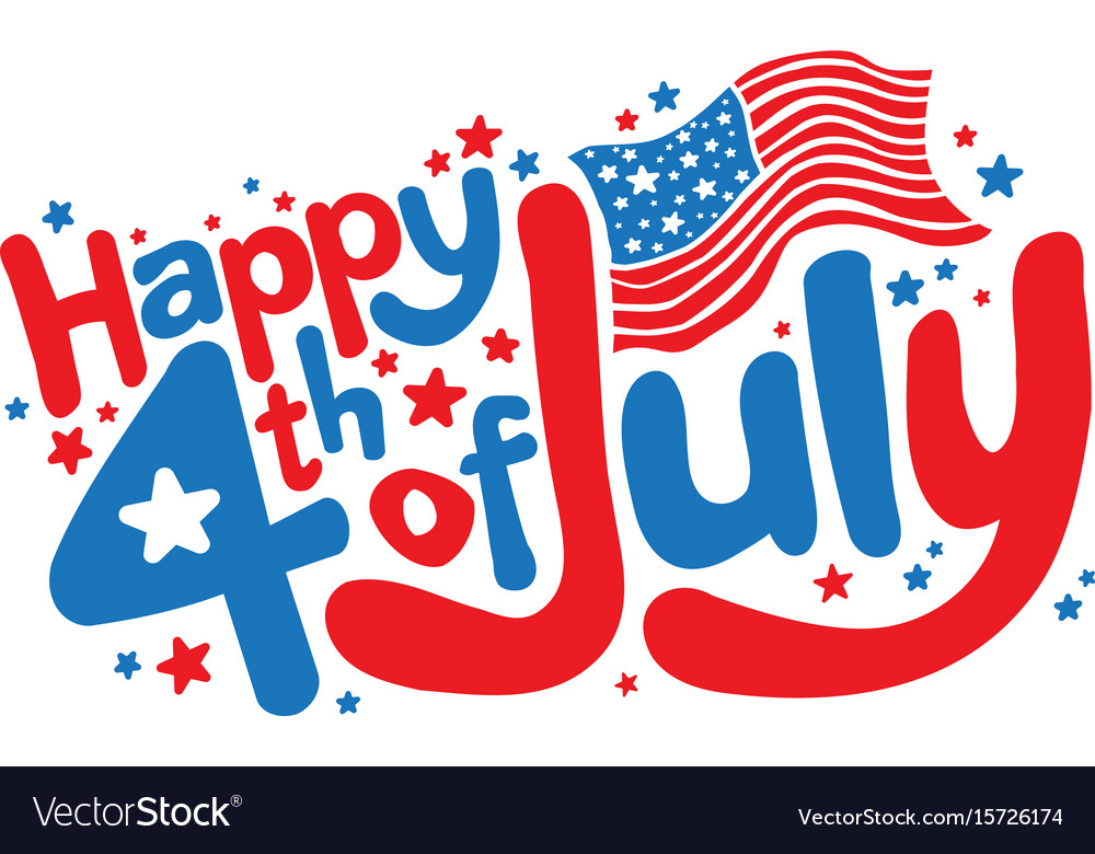Happy 4th of july in fun cartoon bubble letters
