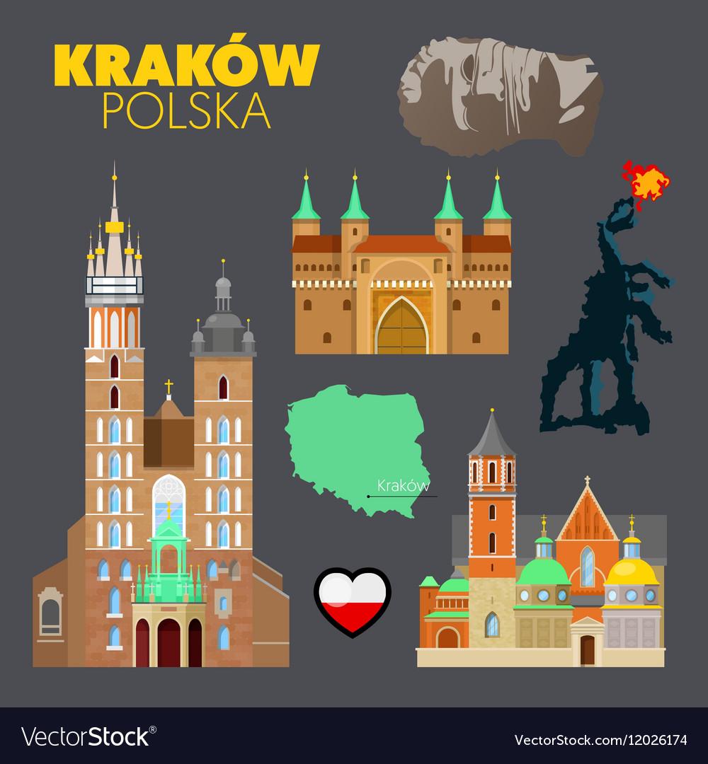 Krakow Poland Travel Doodle with Architecture
